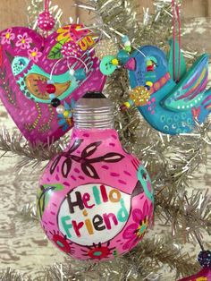 Hand Painted Ornament Recycled Light Bulb  on Etsy, $22.00