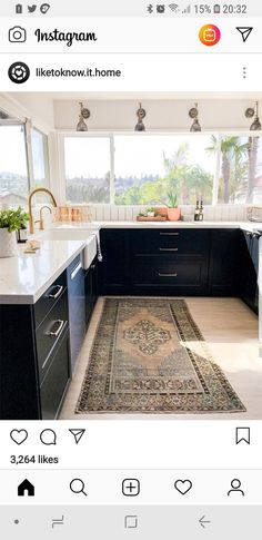 Weekends in the kitchen are best spent with sleek industrial accents and antique rug details a la Kitchen Cabinets With Legs, Traditional Kitchen Cabinets, Luxury Kitchens, Cool Kitchens, Kitchen Trends, Kitchen Ideas, Kitchen Remodel, Kitchen Design, House Design