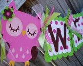 owl birthday banner on Etsy, a global handmade and vintage marketplace.