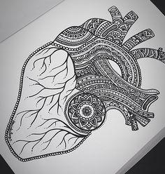 Zentangle heart drawing. HE  ART  Daniela Hoyos Art