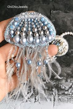 beaded brooch Embroidery jellyfish by ChiChicJewels. Beaded brooches of bird feather, Flowers and heart, swallow beads brooch luxury looks, sweater and dress brooches for woman outfit. If you liked this item, please PIN this post Bead Embroidery Tutorial, Bead Embroidery Patterns, Bead Embroidery Jewelry, Beaded Embroidery, Beaded Brooch, Beaded Earrings, Beaded Jewelry, Beaded Bracelets, Beaded Crafts