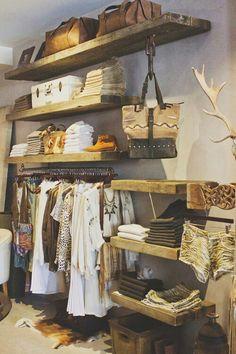 Clothing Boutique Interior Design Ideas 1 (Clothing Boutique Interior Design Ideas design ideas and photos Clothing Boutique Interior, Boutique Interior Design, Boutique Decor, Mobile Boutique, Boutique Stores, Wood Shelves, Display Shelves, Wood Display, Open Shelves