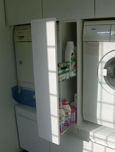 Our budget laundry room reveal {laundry closet} - Four Generations One ...