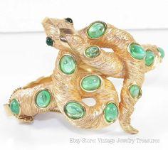 Rare Crown Trifari Green Snake Bracelet SOLD Ebay Store: Vintage Jewelry Treasures