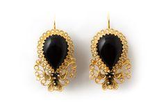 18K Gold filigree earrings with Onyx Orecchini in filigrana in oro 18Kt con Onici loredanamandas.com