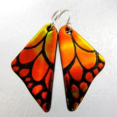 Your place to buy and sell all things handmade Wing Earrings, Glass Earrings, Drop Earrings, Orange Butterfly, Butterfly Wings, Dichroic Glass, Fused Glass, Iridescent, Therapy