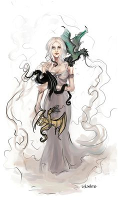 Daenerys Targaryen with dragons scetch by LeksaArt.deviantart.com on @deviantART