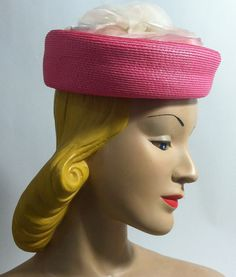 Pretty Pink Pillbox Hat with Big Rose circa 1960s - Dorothea's Closet Vintage