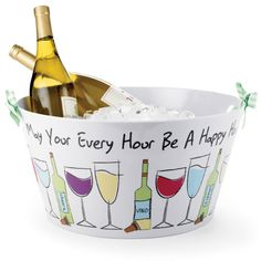 "This festive Happy Hour Party Tub is perfect for keeping your drinks ice cold at your next party. Images of wine bottles and glasses surround this white tub and the expression ""May Your Every Hour Be A Happy Hour!"" lines the outer rim."