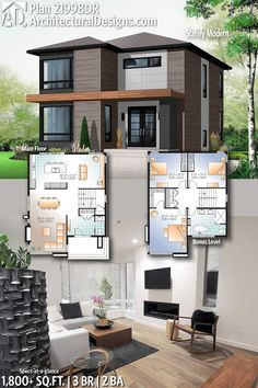 Architectural Designs Modern Home Plan 21998DR with 3 Bedrooms 2 full baths in 1,800+ Sq Ft. Ready when you are! Where do YOU want to build? #21998DR #adhouseplans #architecturaldesigns #houseplans #architecture #newhome #newconstruction #newhouse #homedesign #homeplans #architecture #home #modern
