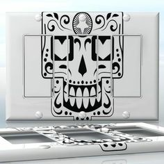 DIY Do It Yourself Home Decor - Easy to apply wall plate wraps | Happy Sugar Skull Smiling sugar skull wallplate skin sticker for 3 Gang Decora LightSwitch | On SALE now only $5.95