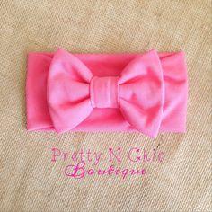 Baby Bow Headband- Watermelon Pink Big Bow Headwrap - Baby Headwrap