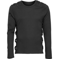 Black longsleeve shirt with strap details on shoulder and sides, from the Queen of Darkness mens clothing line.