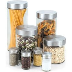 Cook N Home 8-Piece Glass Canister Spice Jar Set | Overstock.com Shopping - The Best Deals on Storage Jars