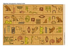 Egyptian hieroglyphics cut-out display border strips