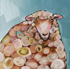 Tiny Woolly Sheep in Metallic Tide Pool Blue ~ Eli Halpin