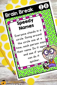 We know the importance of brain breaks to help students focus and learn. Don't waste time looking for fun and effective brain break activities. Just use these printable Brain Break Cards and fill your teacher bag of tricks with brain breaks your students will love. These 60 brain break activities were designed to help students take a short mental break, regain focus, and re-energize to get them back on track for learning. The perfect addition to any classroom management system!