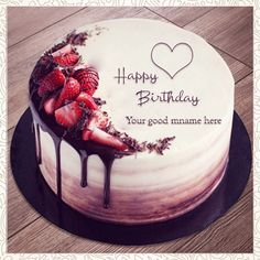 3355 Happy birthday cakes with name and photo: Fresh cake designs 2019 Write Name On Cake, Birthday Cake Write Name, Birthday Cake Writing, Birthday Wishes Cake, Cake Name, Bday Cake Images, Bday Cake Pics, Happy Bday Cake, Happy Bday Pics