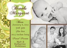 Three Picture Paisley Custom Birth by PaisleyPearInvites on Etsy, $1.50