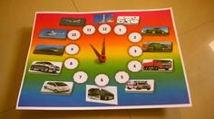 Automobile theme clock for my kid...use paper, pictures and color printer...Fun time