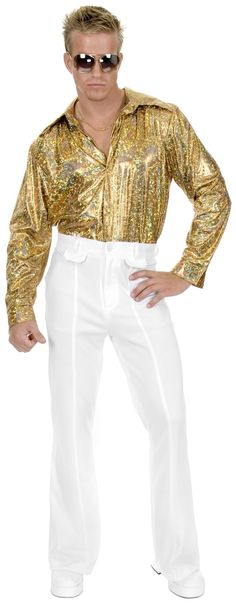 White Disco 70s 80s Plus Size 46 Mens Costume Pants