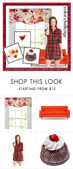 """""""Red and Pink"""" by airin-flowers ❤ liked on Polyvore featuring interior, interiors, interior design, home, home decor, interior decorating, Country Curtains, Joybird, Waterford and colorchallenge"""
