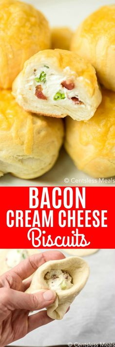 Bacon Cream Cheese Bombs Cream cheese biscuits are savory, cheesy, & creamy! The tender, flakey biscuit dough wraps around a Bacon Cream Cheese Bombs, Cream Cheese Biscuits, Cheese Puffs, Easy Dinner Recipes, Appetizer Recipes, Appetizers, Flakey Biscuits, Drop Biscuits, Tapas
