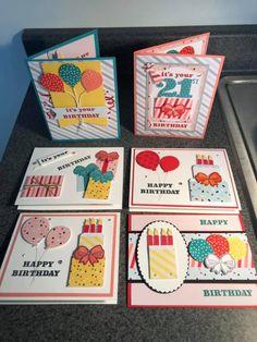 Poppin' Birthday ppMAR19 Birthday Cards For Boyfriend, Kids Birthday Cards, Funny Birthday Cards, Handmade Birthday Cards, Happy Birthday, Stampin Up Paper Pumpkin, Pumpkin Cards, Scrapbook Cards, Scrapbooking