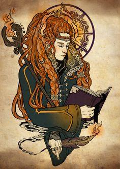 2/3 Aspects of Brighid, triple goddess - Helen Mask Illustration