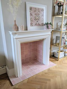 Non-working fireplace makeover with pink tiles ideas non working Transforming Our Non-Working Dining Room Fireplace - Swoon Worthy Dining Room Fireplace, Fireplace Design, 1930s Fireplace, Tiled Fireplace, Fake Fireplace, Fireplace Hearth, Home Living Room, Living Room Designs, Living Room Decor