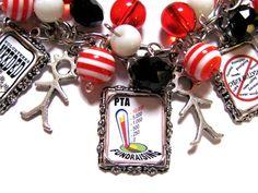 CLEARANCE PTA Mom Altered Art Charm Bracelet Handmade Beaded Glass Red Black