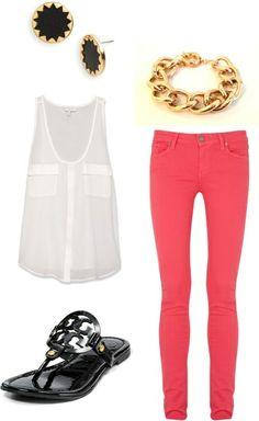 Could easily make up this outfit.. Already have the TB sandals and pink pants :)