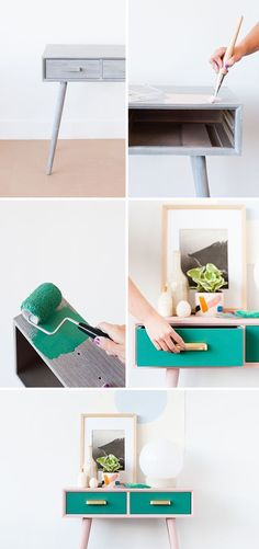 How to makeover a mid-century entryway table for Fall - Paper & Stitch