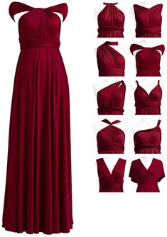 Multiway Bridesmaid Dress, Infinity Dress Bridesmaid, Burgundy Bridesmaid Dresses, Bridesmaid Dress Styles, Convertible Bridesmaid Dresses, Bridesmaids, Infinity Dress Ways To Wear, Infinity Dress Styles, Infinity Gown