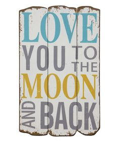 Loving the yellow, gray, and blue decor.  'To the Moon & Back' Wood Wall Sign