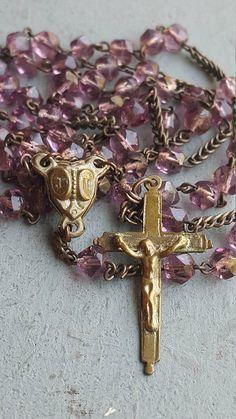 Antique French Lourdes Rosary Art Nouveau Violet Glass Beads