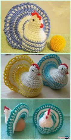 Crochet Easter Chicken with Open Tail Free Pattern [Egg Cozy Video] - #Crochet Easter #Chicken Free Patterns #CrochetEaster