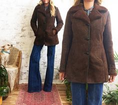 Vintage 1970's Chocolate Brown SHEARLING Sheepskin Leather