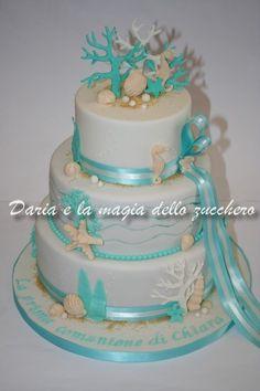 #Torta prima comunione #First communion cake #Sea cake #Coral #Tiffany color #