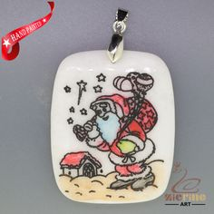 CHRISTMAS ENGRAVED HAND PAINTED SANTA PENDANT NATURAL WHITE STONE ZL7001661 #ZL…
