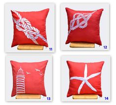 MIX AND MATCH! YOU CHOOSE THE DESIGN ! Please enter the number of the throw pillow cover design you would like in NOTE fields DURING CHECKOUT. The price shown in this listing is FOR 4 (FOUR) PILLOW COVERS.  Great choices for Modern Nautical pillow cover in ORANGE AND WHITE. The background is the same navy blue fabric (solid) as the front side.  This pillow cover has hidden zipper at the bottom side and it is available in size 16 x 16, size 18 x 18, size 20 x 20, size 24 x 24 and size 26 x…