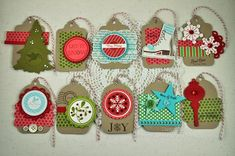 Simple tags.  One uses the tree die for TTT.  Some use FF dies and Mat Stack 4.  Can use up my Kraft cardstock scraps.
