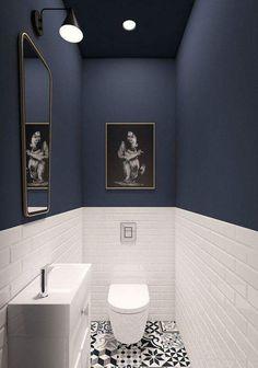 93 Cool Black And White Bathroom Design Ideas oneonroom - Wohnkultur // Badezimmer im Erdgeschoss - Bathroom Decor Downstairs Bathroom, Bathroom Small, Master Bathroom, Bathroom Black, Mosaic Bathroom, Cool Bathroom Ideas, Bathroom Mirrors, Bathroom Lighting, Small Toilet Room