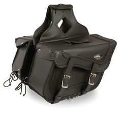 TWO PIECE SADDLEBAG BRAIDED ZIP OFF PVC SADDLEBAG