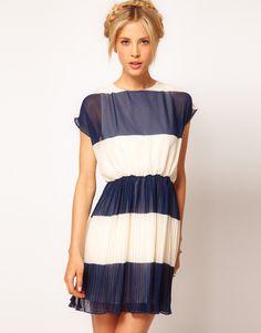 ASOS Stripe Skater Dress With Pleated Skirt