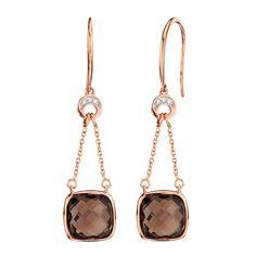Smoky Quartz & Diamond Earrings 14K $349