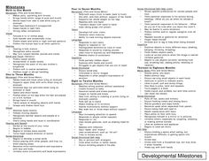 1-6 month baby milestone chart. Great resource from babycenter.com ...