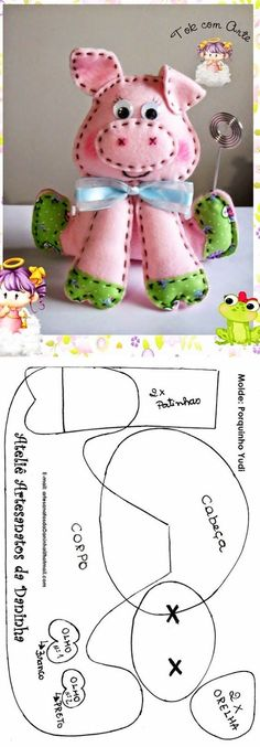 45 ideas craft felt pattern feltro for 2019 Pig Crafts, Felt Crafts, Fabric Crafts, Sewing Stuffed Animals, Stuffed Animal Patterns, Sewing Toys, Sewing Crafts, Craft Projects, Sewing Projects