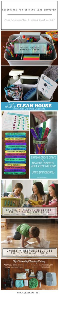 These FREE printables are perfect for involving your kiddos with tasks and chores around the home. Print and implement them for realistic help from any age! Green Cleaning, Spring Cleaning, Chores For Kids, Activities For Kids, Cleaning Solutions, Cleaning Hacks, Homework Caddy, Clean Mama, Clean House Schedule