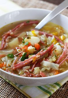 Corned Beef and Cabbage Soup is perfect for a chilly March meal!   7 pts. plus